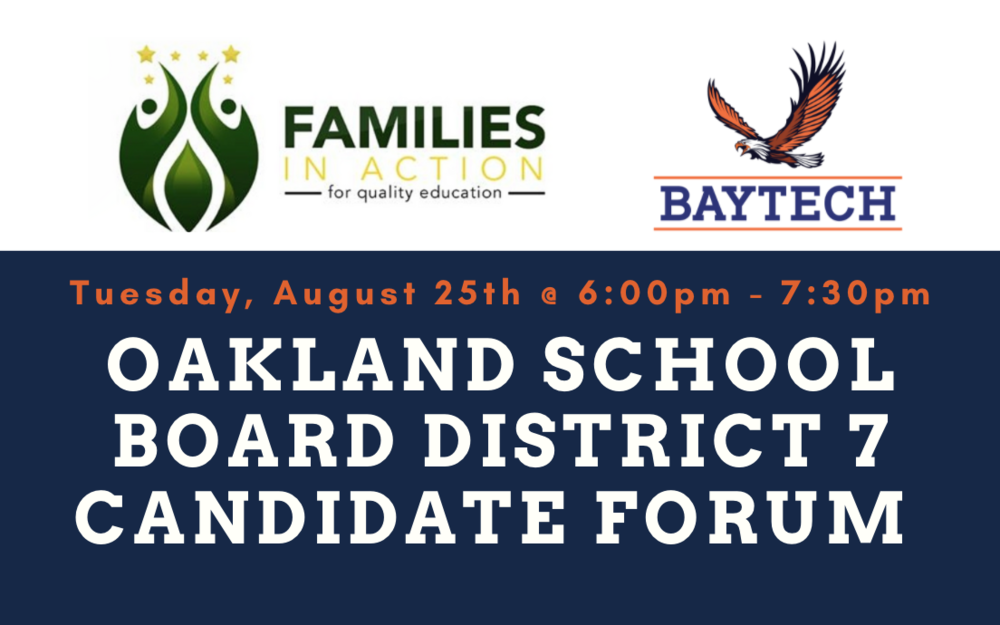 Join us for a Facebook Live forum with the candidates running for Oakland's School Board District 7!
