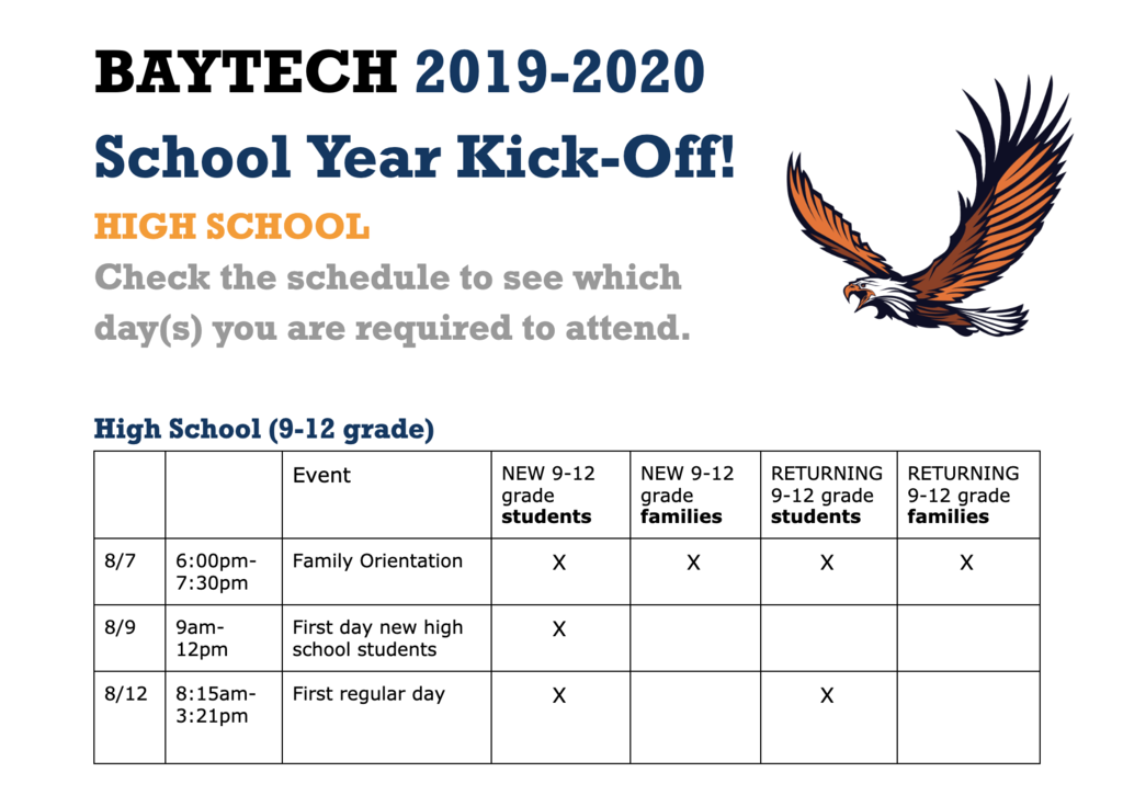 High school orientation and first day schedule
