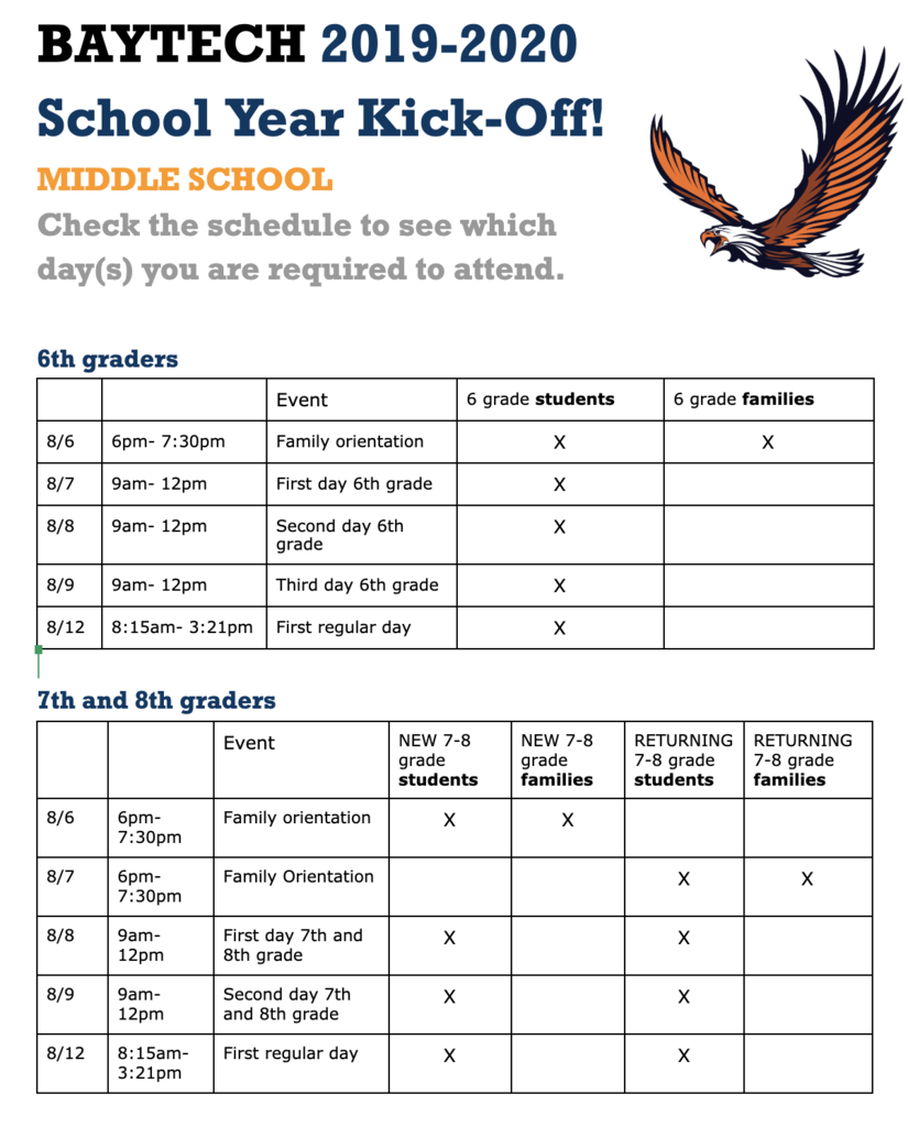 Middle school orientation and first day schedule